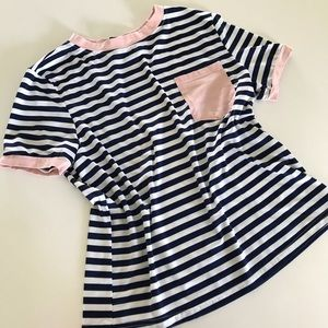 NWOT Shein striped short sleeve tee with pocket M